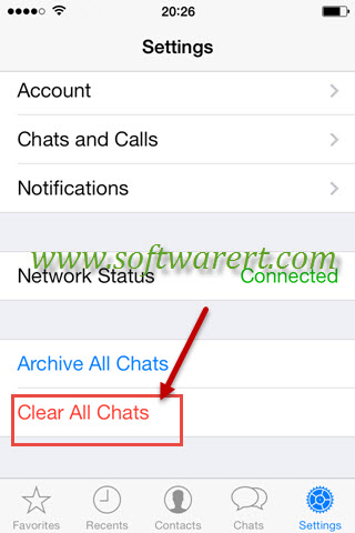 clear all whatsapp chats on iphone