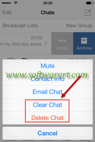 clear or delete whatsapp chat on iphone