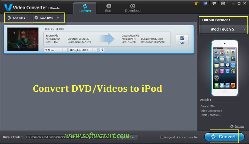 convert videos to ipod touch