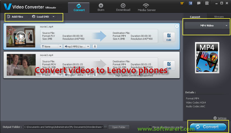 convert videos to lenovo mobile phones