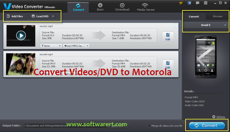 convert videos to motorola smartphone