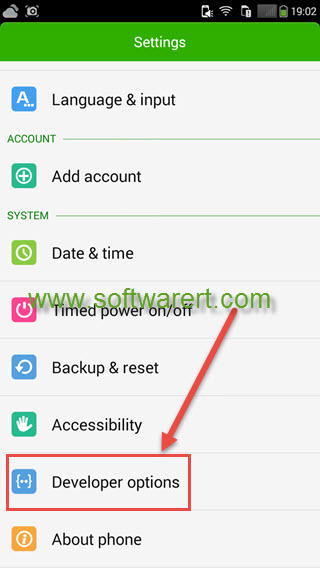 Enable Developer options and USB debugging on Coolpad