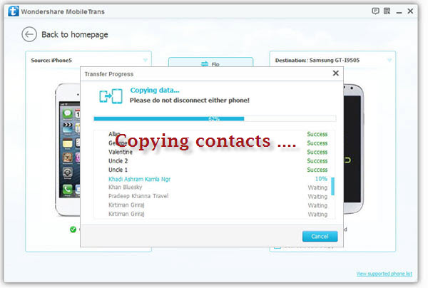 copying contacts from iphone to samsung mobile phone