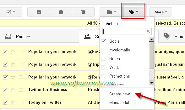 create new gmail label