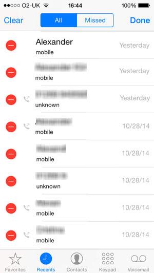 delete iphone call history