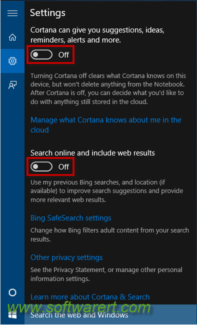 disable cortana and bing web search windows 10