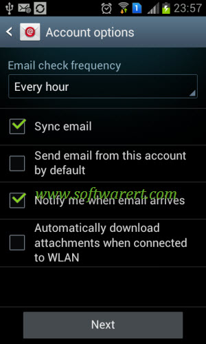 configure yahoo mail account & options on samsung mobile