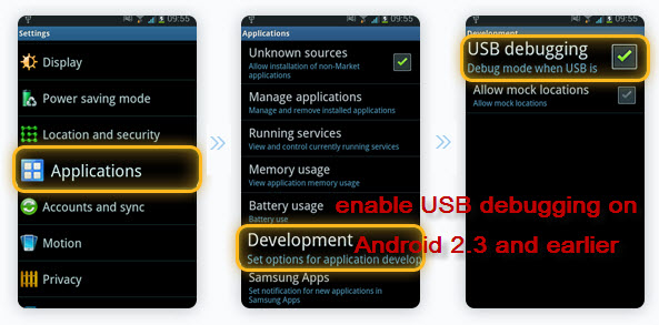 enable USB debugging on Android 2.3 and earlier