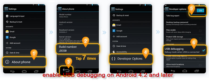enable USB debugging on Android 4.2 and later