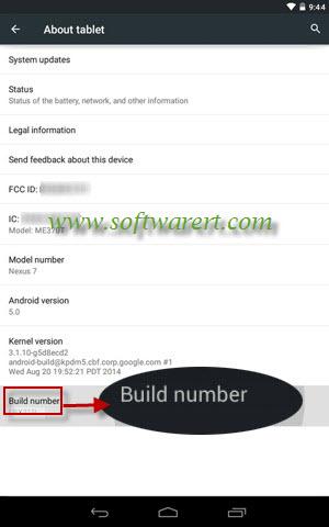 enable developer options on Google nexus