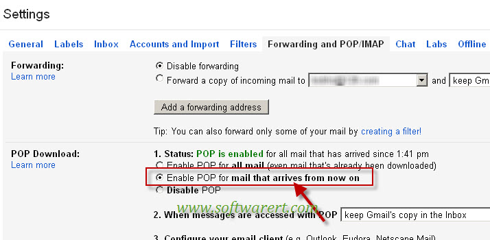 enable pop download for new emails in Gmail that arrives from now on