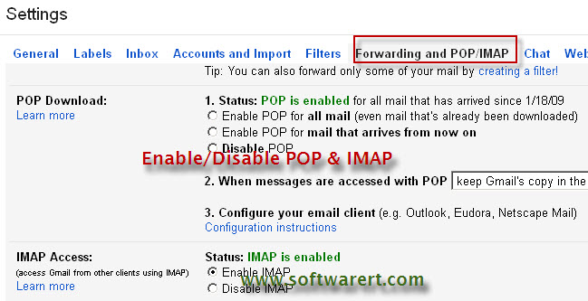 enable pop imap for gmail