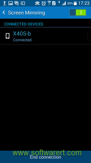 enable screen mirroring and connect device on samsung phone