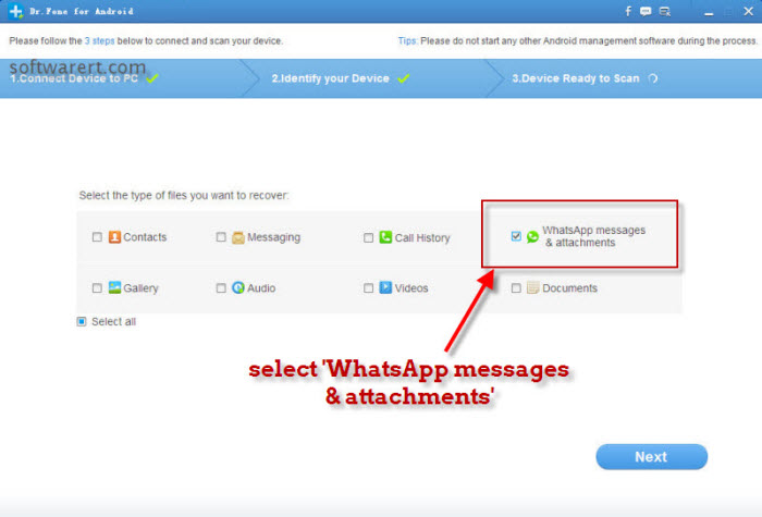 enable whatsapp messages & attachments recovery from android phones