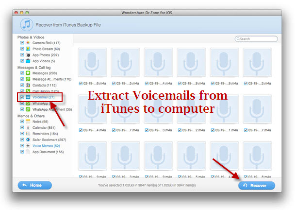 extract Voicemails from itunes to computer
