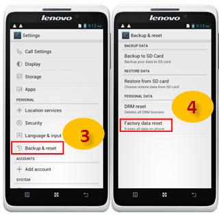 factory data reset on Lenovo mobile s890