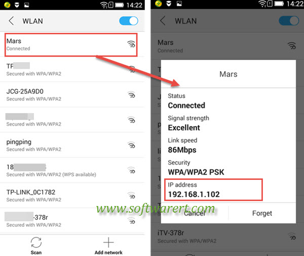 how to find my samsung mobile ip address