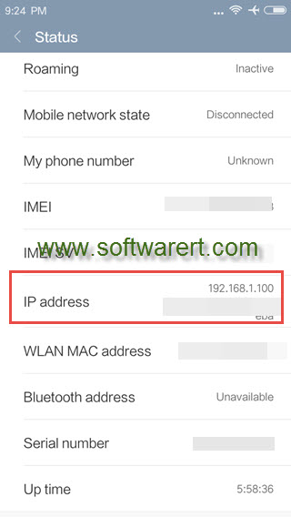 find ip address from phone status on xiaomi redmi mobile