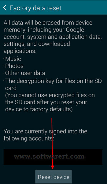 galaxy s5 reset and data removal warning
