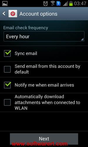 gmail account settings on samsung