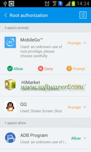 grant remove app root permission in kinguser