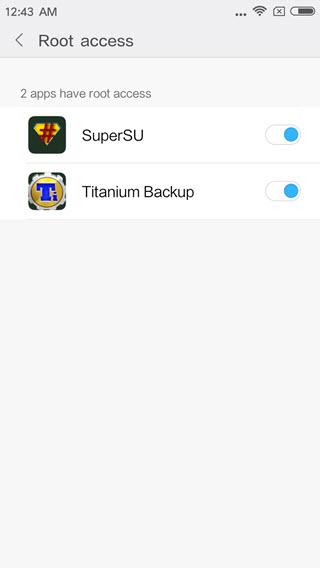 grant titanium backup app root access on xiaomi redmi mobile phone