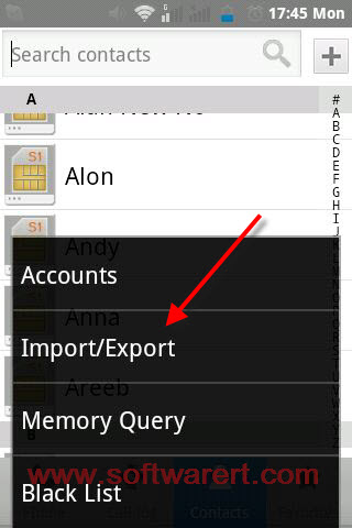 import export contacts on android