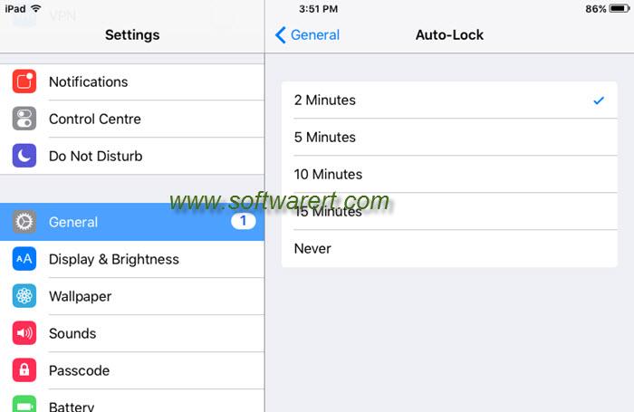 ipad screen auto-lock time settings