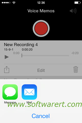 iphone voice memos share options