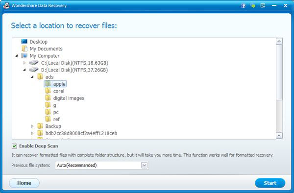 lost file recovery mode of data recovery for Windows