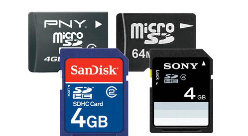 various memory cards and sd cards