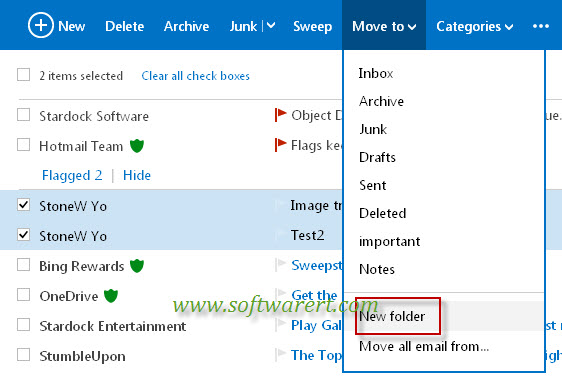 move hotmail emails to a new folder