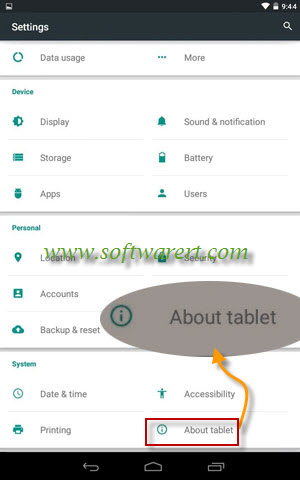 google nexus settings about tablet