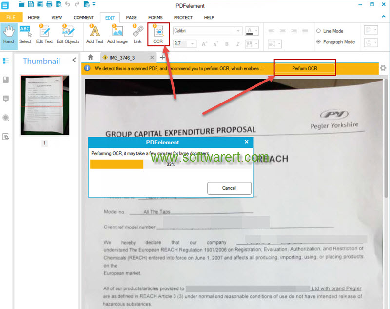 perform ocr on scanned pdf, documents, images