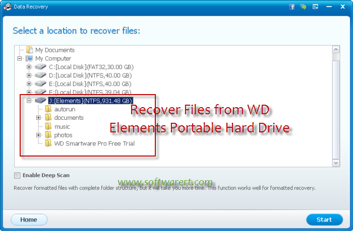 recover data from WD portable hard drive
