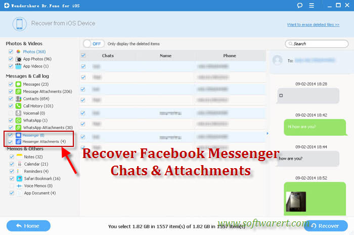 Recover deleted facebook messenger chats and messages on iphone recover facebook messenger messages and chats history on iphone ccuart Choice Image