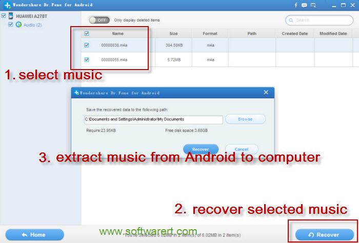 how to delete music in android