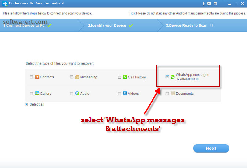 recover whatsapp messages attachments with android data recovery