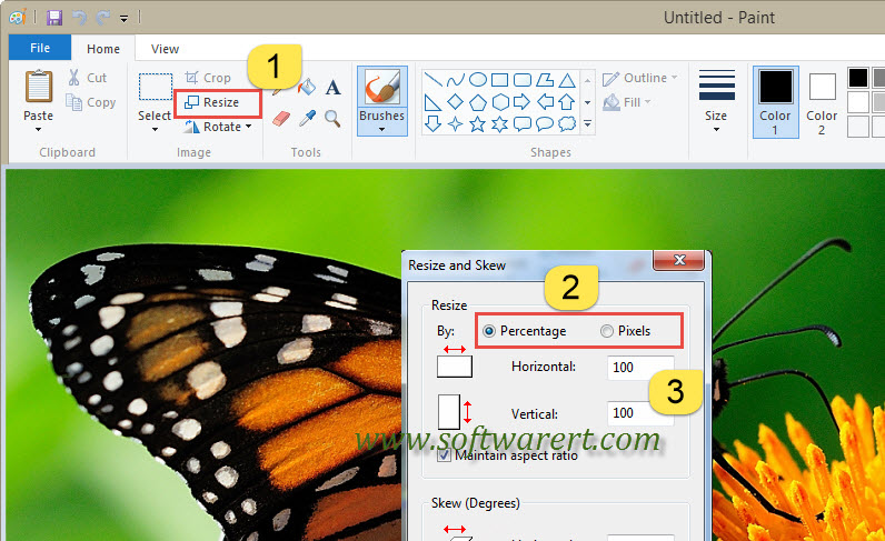 resize a photo in paint in windows 10