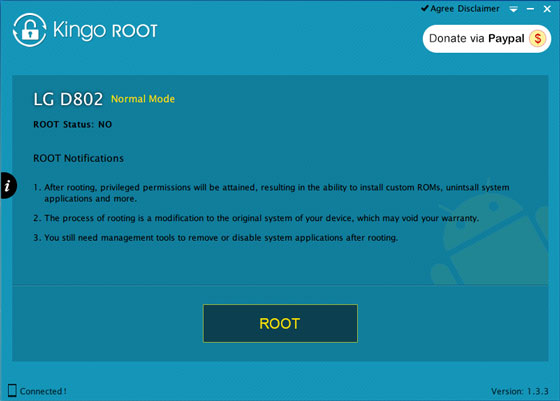 root LG G2 using free android rooting software kingo