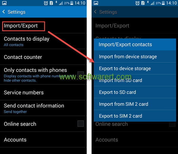 Export contacts from Samsung phone to computer
