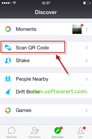 scan qr code in wechat for iphone from discover tab