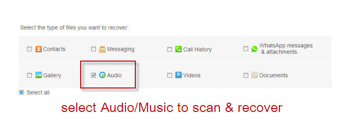 select audio music to recover from android