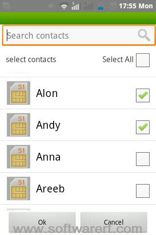 select contacts on android phone