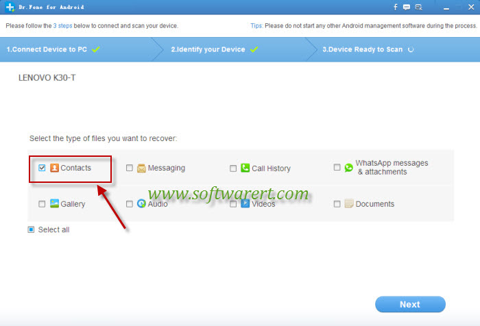 Recover deleted contacts from Lenovo phone