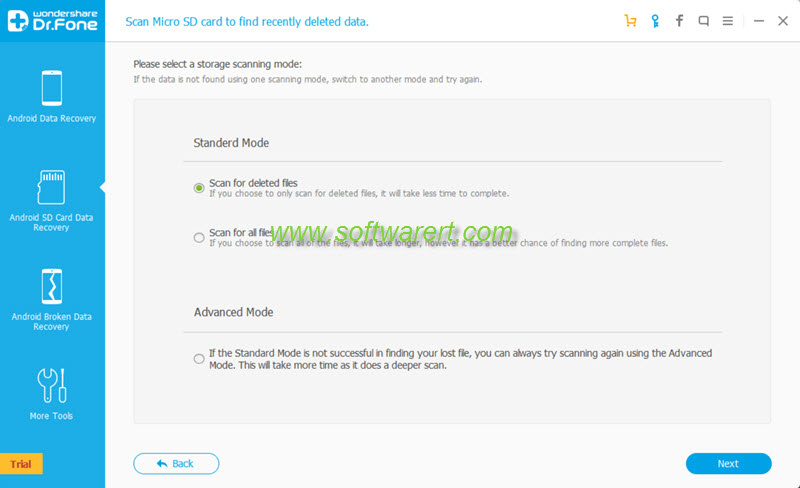 select storage scanning mode in android microSD card data recovery