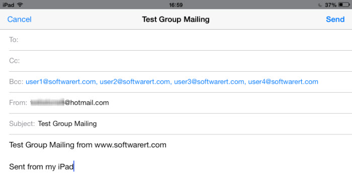 send email to group via bcc on ipad iphone