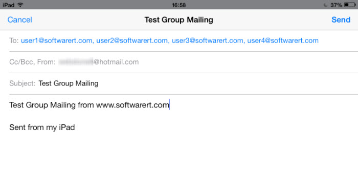 send email to group on ipad iphone