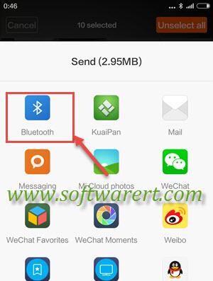 send files via bluetooth from xiaomi or redmi mobile phone