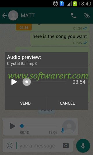 send music through whatsapp from android phone